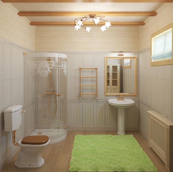 Дизайн ванных комнат в домах из бруса